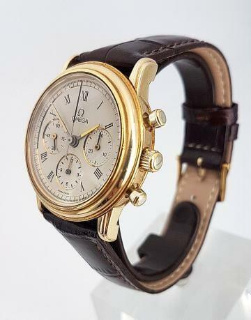 Omega De Ville ref 1450042 anni 90 cassa e fibbia in oro 18 ct, diametro 34mm movimento crono manuale omega 1861.